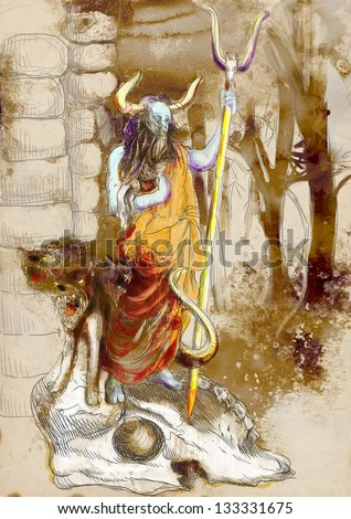 An hand-drawn illustrations in ancient Greek myths and legends: HADES (was the ancient Greek god of the underworld) and CERBERUS (hell hound which guards the gates of the Underworld). - stock photo
