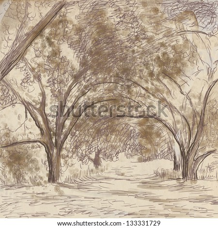 An hand-drawn illustrations of mystical and mysterious alley. - stock photo