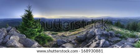 An HDR Panorama taken on top of a mountain. Mount Pisgah, Eugene, Oregon, United States. - stock photo