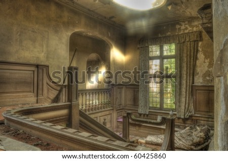 An HDR Photo of a derelict stairwell - stock photo