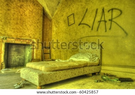 An HDR shot of an Abandoned bedroom - stock photo
