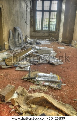 An HDR shot of an abandoned manor - stock photo