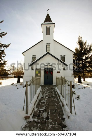an historic townhall in Bayfield - stock photo