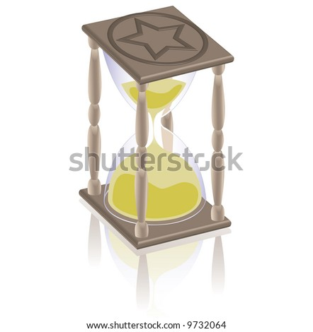 an hourglass and it's reflection on white