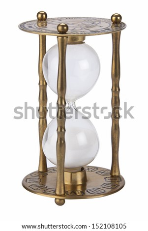 An Hourglass is an invertible device with two connected glass bulbs containing sand that takes an hour to pass from the upper to the lower bulb.