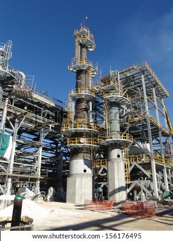 An hydrogen plant refinery under construction - stock photo