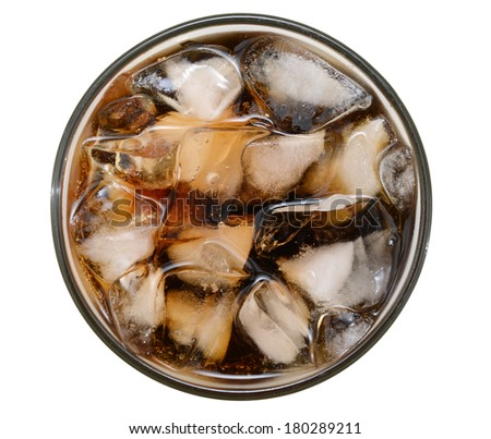 An ice cola glass isolated white