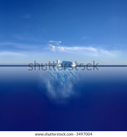 An iceberg above and below on its journey in the South Atlantic - stock photo