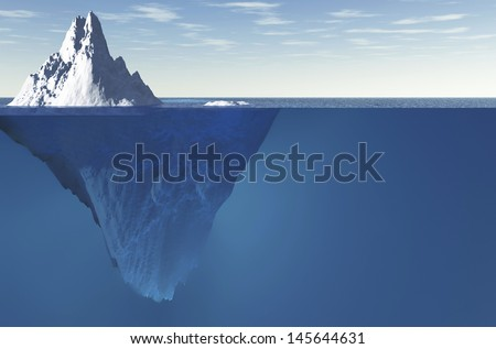 An iceberg with visible underwater surface - stock photo