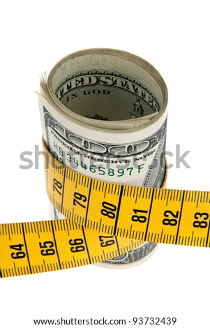 an icon image austerity package with dollar bill and tape measure - stock photo