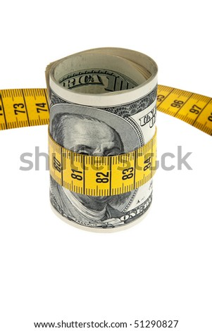 An icon image economy package with dollar bill and tape measure