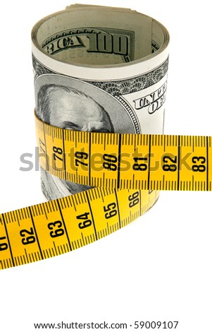 An icon image economy package with dollar bill and tape measure - stock photo