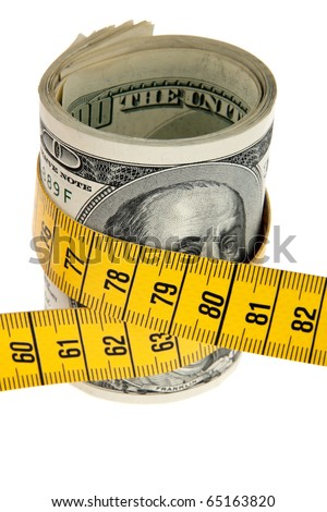 An icon image saving package with dollar bill and tape measure