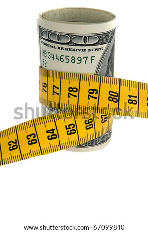 An icon image saving package with dollar bill and tape measure - stock photo