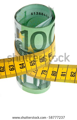 An icon image with austerity ? bill and tape measure - stock photo