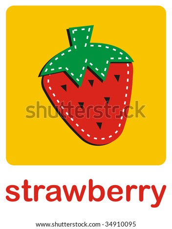 An icon of a strawberry over a yellow background.
