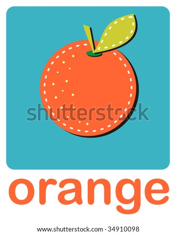 An icon of an orange over a turquoise background.
