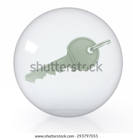 An icon of key is in a transparent ball on white background.3d render illustration  - stock photo