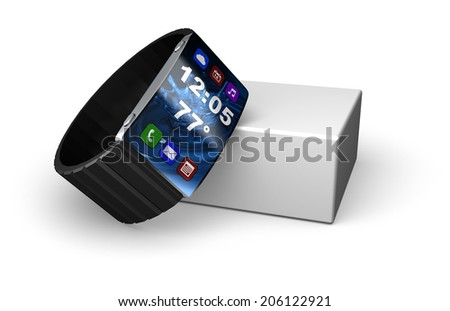 An ideal smart watch with all it's modern functions  - stock photo