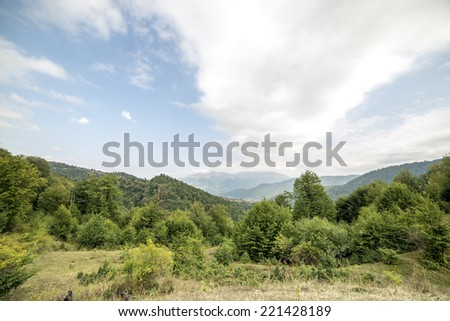 An idyllic view into a valley of mountains with trees and a cloudy sky above.