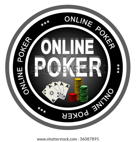 An illustrated dark badge symbolizing classical online poker. - stock photo