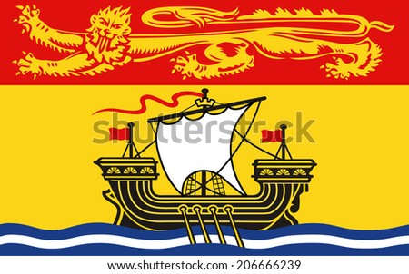 An Illustrated Drawing of the flag of New Brunswick - stock photo
