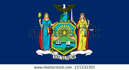 An Illustrated Drawing of the flag of New York state (USA) - stock photo