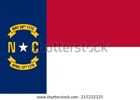 An Illustrated Drawing of the flag of North Carolina state (USA) - stock photo
