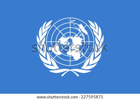 An Illustrated Drawing of the flag of the United Nations - stock photo
