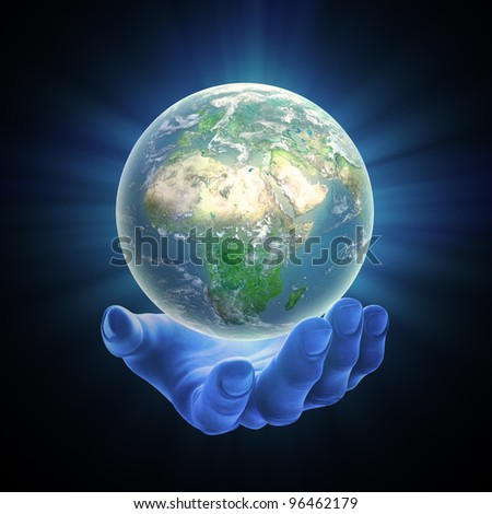 An illustrated hand holding a glowing Earth globe - stock photo