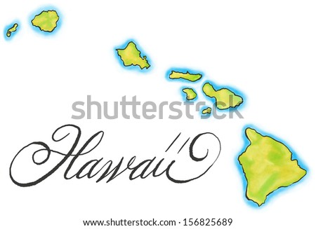 An illustrated map of Hawaii. - stock photo