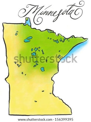 An illustrated map of Minnesota. - stock photo