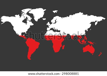 An Illustrated Map of the world with the flag of Poland - stock photo