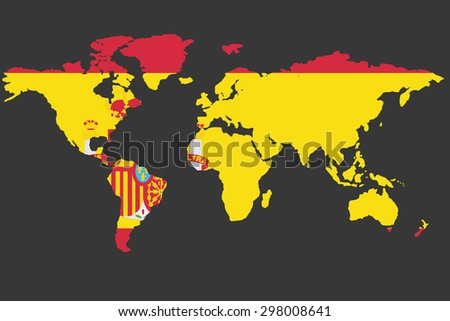 An Illustrated Map of the world with the flag of Spain - stock photo