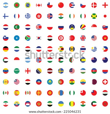 An Illustrated Set of World Flags - Round - stock photo