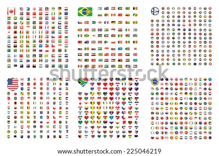 An Illustrated Set of World Flags - Square - Shield - Circle - Heart- Football - SIM Card - stock photo