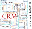 An illustration around the word acronym CRM Client or Customer Relationshiop Management system with lots of different terms such as delivery, vision, problem solving, sales, reporting, and a lot more. - stock photo