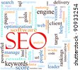 An illustration around the word / acronym SEO with lots of different terms such as search, engine, optimization, client, web, target, rankings, traffic, visitors and a lot more. - stock photo