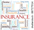 An illustration around the word insurance with lots of different terms such as home, auto, health, life, assets, property, copays, benefits and a lot more. - stock photo