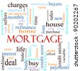 An illustration around the word mortgage with lots of different terms such as rates, interest, home, refinance, house, charges, loan, purchase, taxes, bank, lender, debt, payments, and a lot more. - stock vector