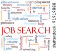 An illustration around the words Job Search with lots of different terms such as unemployment, headhunter, networking, job and a lot more. - stock photo