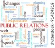 An illustration around the words Public Relations with lots of different terms such as communications, web, community, social, viral, media and a lot more. - stock photo