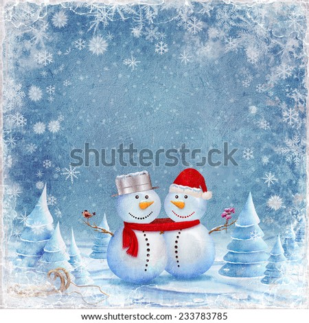 An illustration featuring a snowman and snow woman hugging in the snow - stock photo