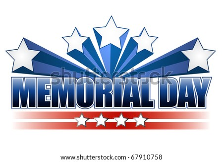 An illustration for Memorial Day with the American flag colors isolated over white. - stock photo