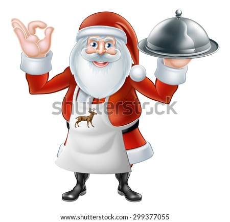 An illustration if a Cartoon Santa Claus chef or cook character wearing an apron holding a plate or platter of food - stock photo