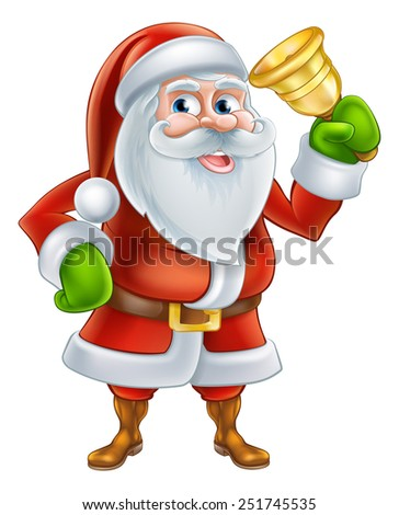 An illustration if a happy Cartoon Santa Claus character Ringing a gold hand Bell - stock photo
