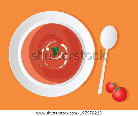 an illustration of a a bowl of delicious tomato soup with cream swirl and coriander garnish on an orange background - stock photo