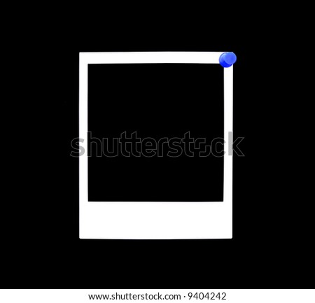 An illustration of a blank instant photo pinned to a black background with a blue thumbtack. - stock photo