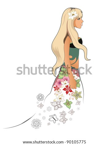 An illustration of a blonde spring girl - stock photo
