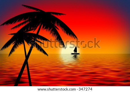 An illustration of a boat in a sunset with palm trees